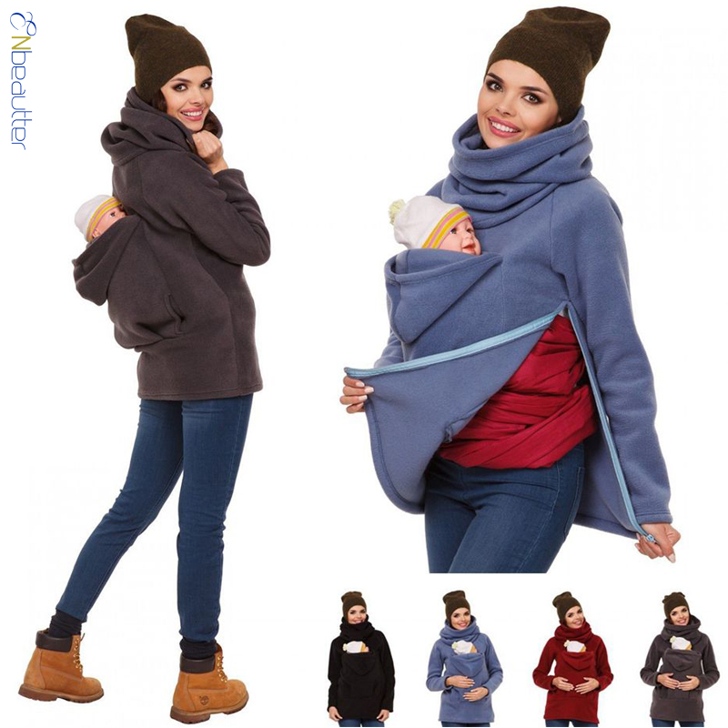 ENbeautter Hoodies Women Parenting Child Sweatshirts More Features Mother Kangaroo Hoodie Oversized Baby Carrier Wearing Tops