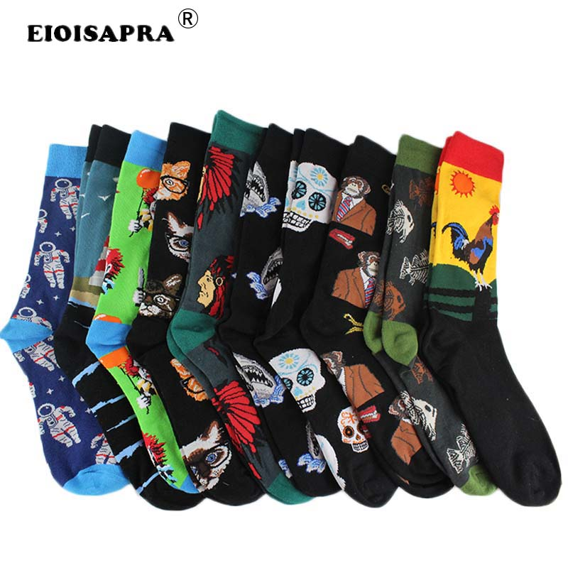 Underwear & Sleepwears combed Cotton Fashion Hip Hop Men Socks Trend Harajuku Marvel Clown Chicken Skateboard Happy Socks Funny Sokken Buy One Give One eioisapra