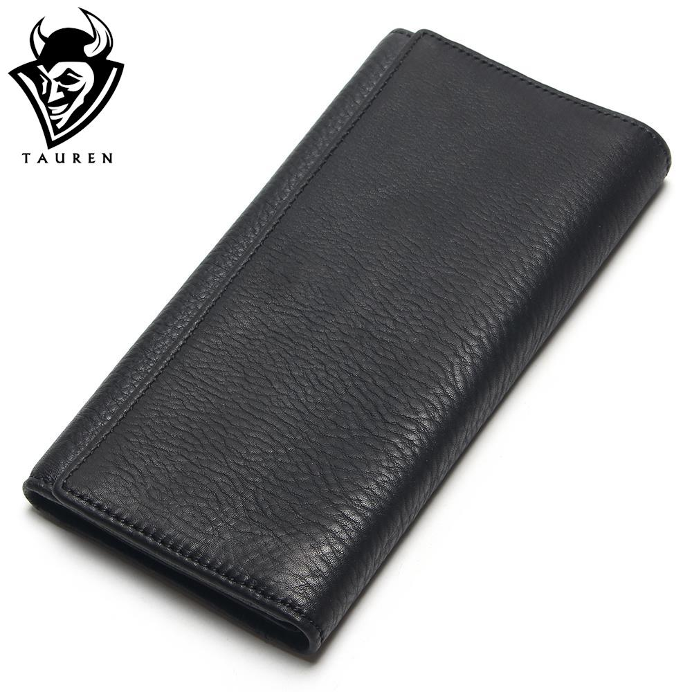 TAUREN New Fashion Men Wallet <font><b>Genuine</b></font> Leather Purse Men Long Wallet Purse Vintage Money <font><b>Clip</b></font> High-Capacity Wallet