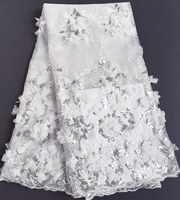 D'origine appliqué Blanc Argent Africain tulle dentelle de mariée français dentelle tissu avec briller Appliques perles paillettes 5 mètres 4202