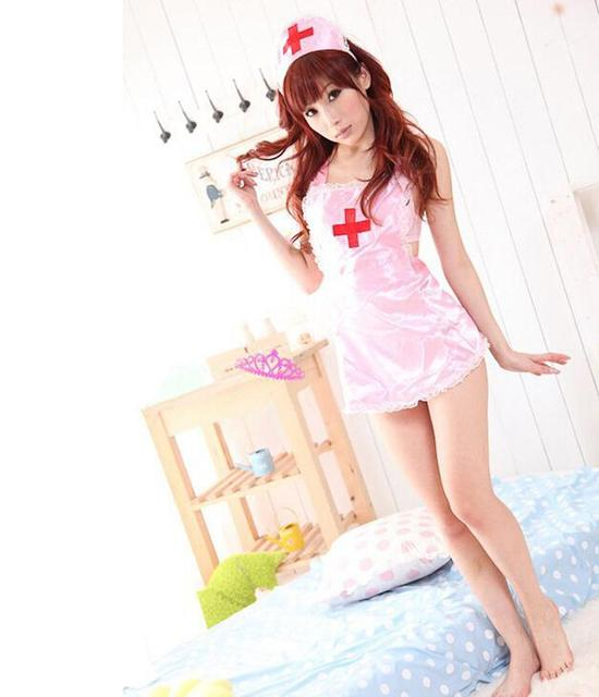 COSPLAY temptation to Erotic Nurse Lingerie Women Costumes Toy Sexy underwear Role play Bodydolls Pink White Sleepwear