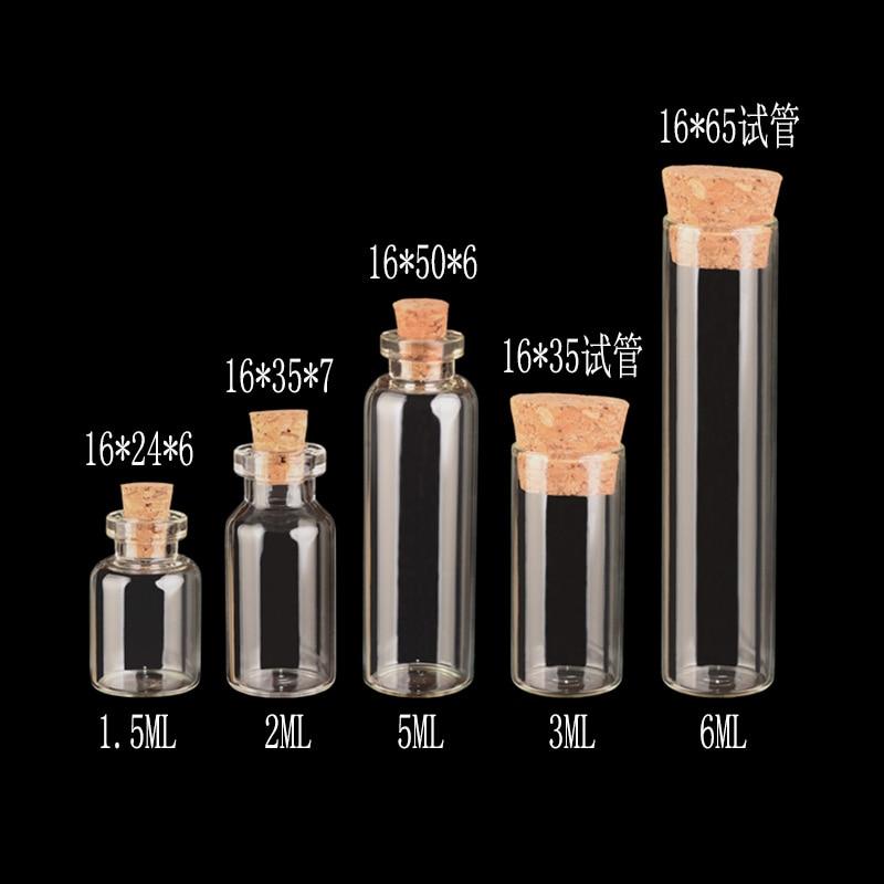 50pcs 12*16mm Small Mini Glass Bottles with Cork Top// 1ml Vials Clear Glass Bott