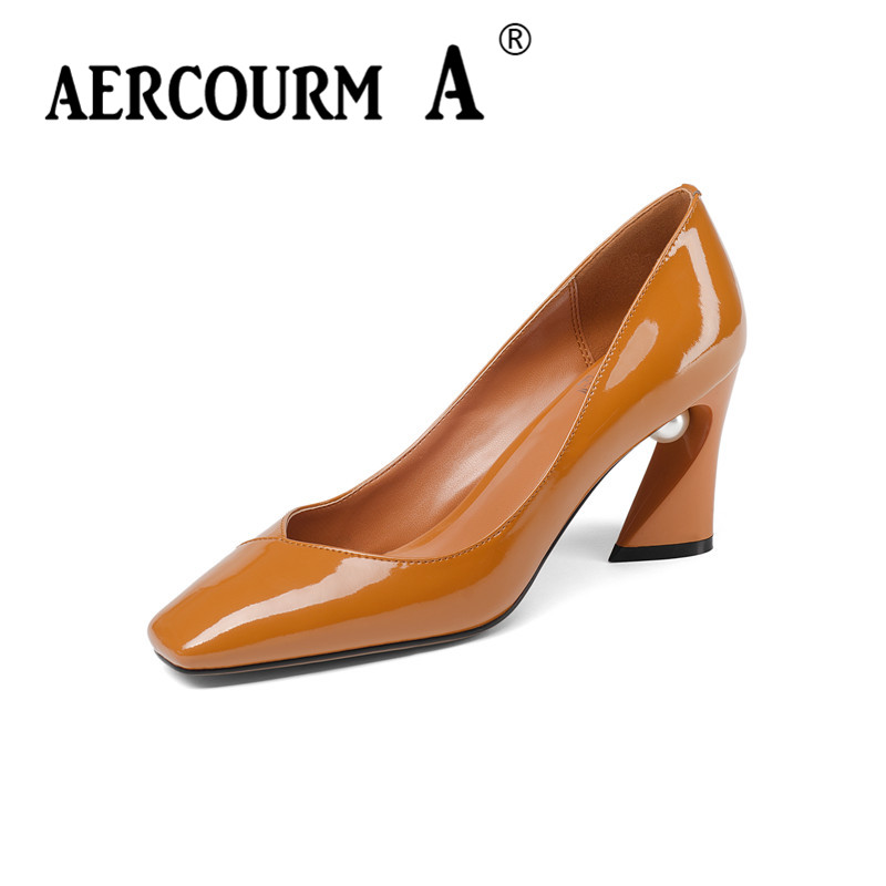 528ffa59c Aercourm A 2018 г. Женские лакированные кожаные туфли женский мелкая Пояса  из натуральной кожи Обувь