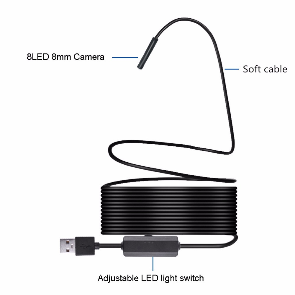 1200P HD WIFI Endoscope Camera 1M 2M 3.5M 5M 7M 10M 8mm Mini Waterproof Borescope Inspection Camera For Android PC IOS Endoscope_12