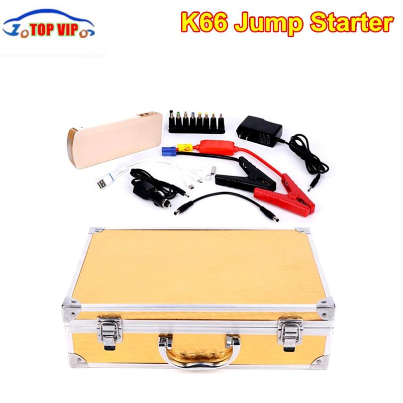High sale Multi-function K66 18000mah car jump star-ter Portable gold Car Jump Star-ter Car Emergency Power B-ank Free Shipping