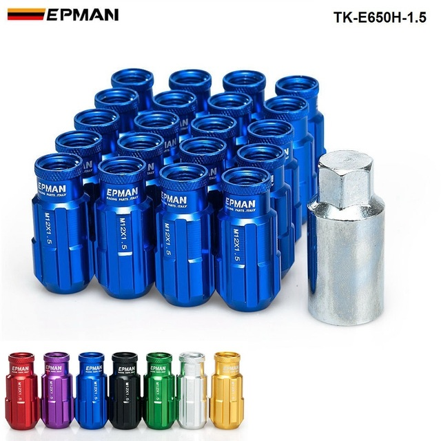 EPMAN Sport course aluminium serrure écrous 20 pièces 12x1.5 W/clé universelle ajustement pour Honda Civic Toyota Ford TK-E650H-1.5