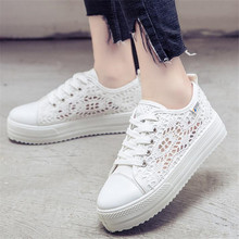 NEW Summer Women Shoes Casual Cutouts Lace Canvas Shoes Hollow Floral Breathable Platform Flat Shoe sapato feminino цена