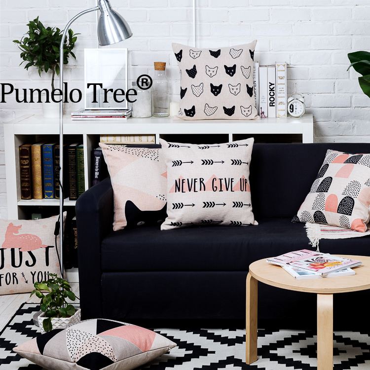 litter deer love Pink Cushion Covers black arrow Home Sofa Dector black coussin scandina ...