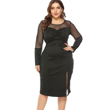 2019 Hot Autumn And Winter Plus Size Dress  Hollow Long-sleeved Dress Pleated Sexy Mesh Perspective Split Bottom Dress plus split mesh swim dress set
