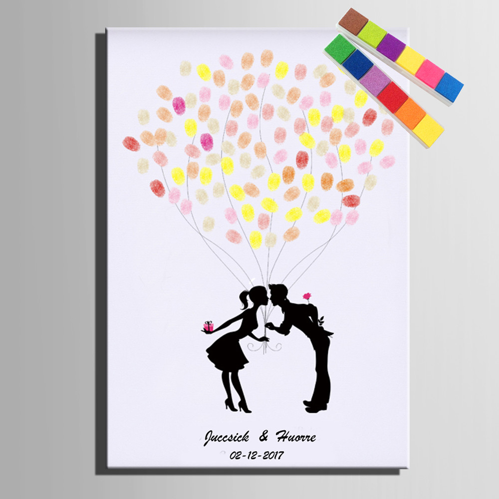 Personalized Fingerprint Wedding Guest Book Tree Alternatives Diy Signature In Party Decorations From