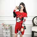2017 autumn fall winter black red women mickey long sleeves knitted shirts skirts 2 piece sets female cartoon minnie suits B0249