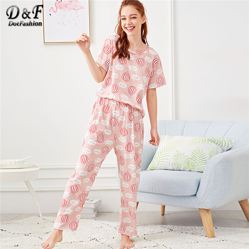 Dotfashion Hot Air Balloon Print Cartoon Pajama Set Summer Multicolor Round Neck Short Sleeve Nightwear Women Casual PJ Sets