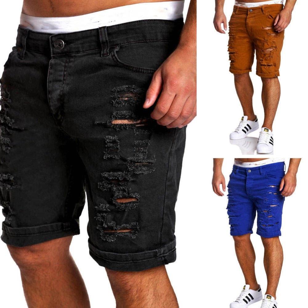 Destroy Men Jeans Short Summer Fashion blue Black White Frayed Hole Knee LengthMan Denim Shorts ...