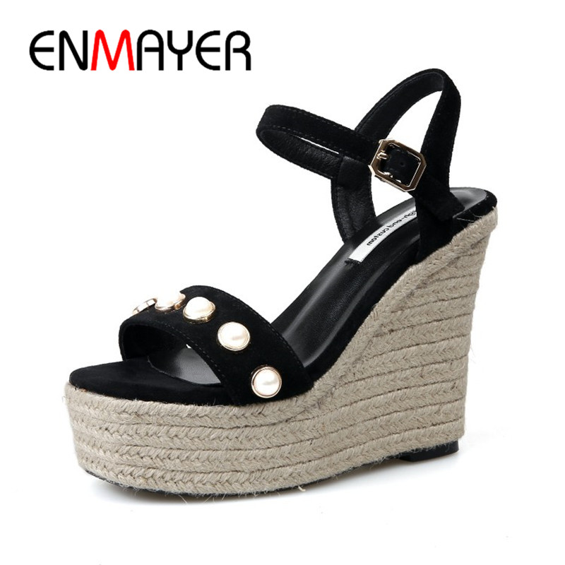 ENMAYER Summer High Heel Sexy Sandals Casual Buckle Strap Pumps Shoes Black Light Tan Solid Shoes Wedges Platform Sandals Shoes venchale 2018 summer new fashion sandals wedges platform women shoes height heel 10 cm buckle strap casual cow leather sandals