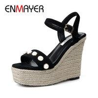 ENMAYER Summer High Heel Sexy Sandals Casual Buckle Strap Pumps Shoes Black Light Tan Solid Shoes Wedges Platform Sandals Shoes