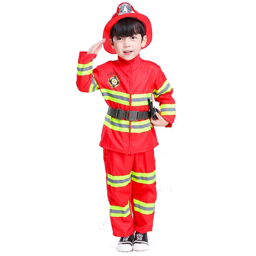 Childrens Firefighter Suit Halloween Party Fireman Costume Uniform Kids Gift Fancy Dress Boys' Clothing