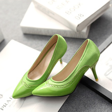 The new Big size 30-52 fashion PU leather + silk women shoes solid lace Hollow-out decorative Candy color High heels HQW-400