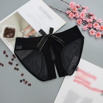 Bragas con abertura de encaje para mujer, lencería Sexy transparente, ropa interior con lazo