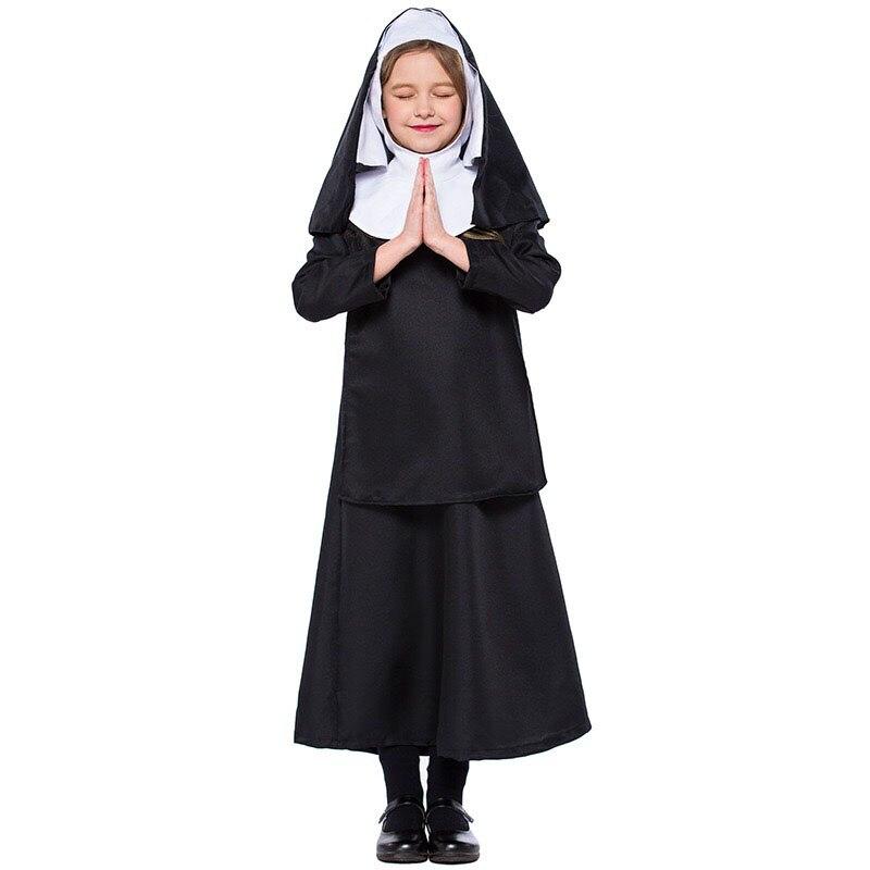 Kid Girls Halloween Nun Costume Black Hooded Shawl Gown Dress Set Fancy Catholic Cloak Cape Uniform For Baby Child