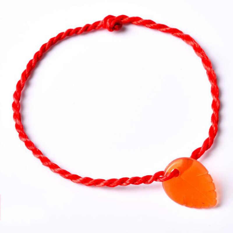 Nowy LNRRABC 1PC Hot przyzwoite czerwone serce liść zwierząt blokada urok wisiorek kobiety bransoletki dziewczyna pleciona lina bransoletka biżuteria