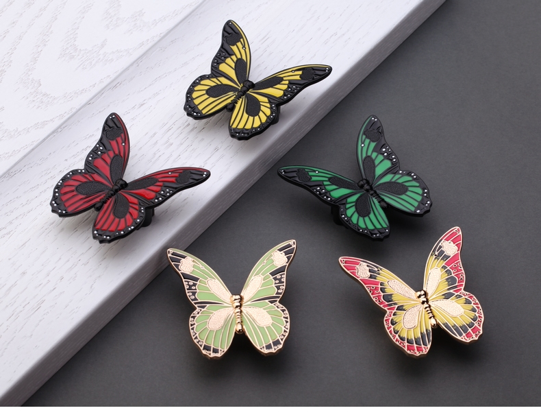 Colorful Butterfly Knobs Pulls Drawer Kitchen Cabinet Knobs Pulls Handles Antique Bronze Decorative Furniture Knob Pull Hardware 2set antique bronze decorative furniture knobs antique puxador concha decorative shell door pull handle zk131