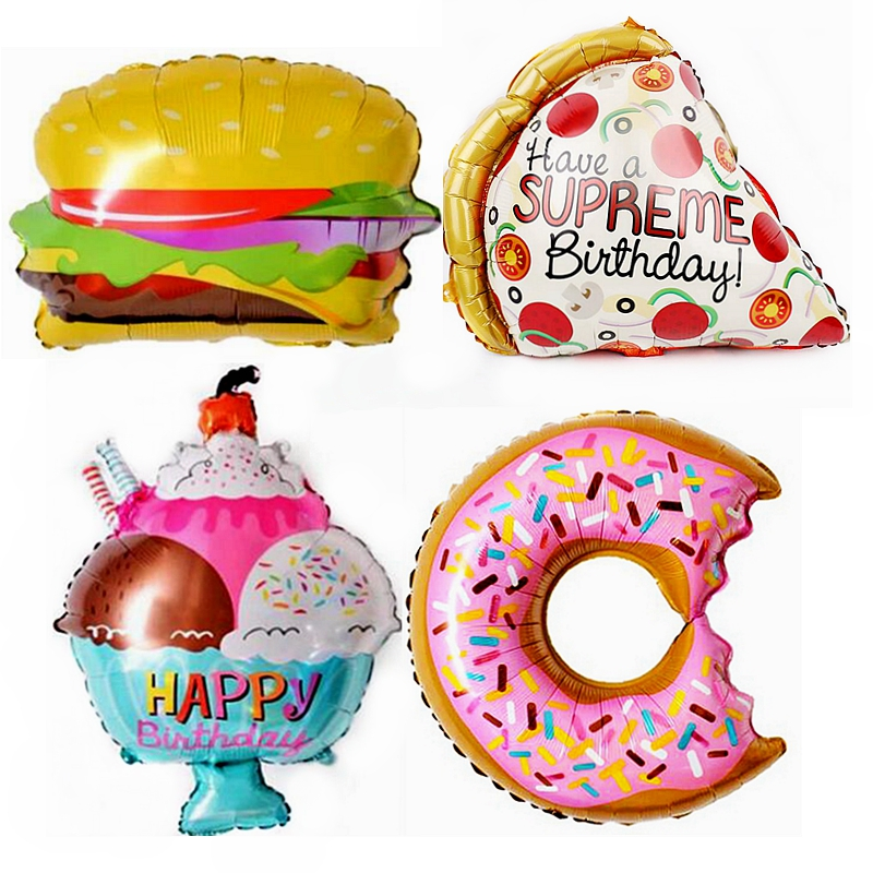 10pcs Hamburger/Doughnut/Ice Cream/Hot Dog Sausage/Pizza/Popcorn Foil Balloons Birthday Wedding Party Supplies Decoration Food