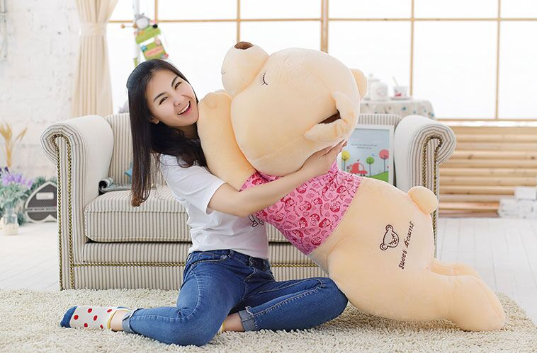 Stuffed toy Teddy bear with pink cloth lying teddy bear sleeping bear about 51 inch plush toy 130 cm throw pillow doll b0045 new creative plush bear toy cute lying bow teddy bear doll gift about 50cm