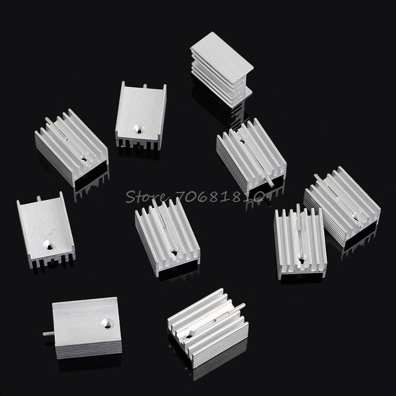 10Pcs Aluminum Heatsink Transistor Radiator With Needle For Transistors TO-220 -R179 Drop Shipping free shipping 10pcs lot tip3055 to 247 3055 darlington transistor transistor line authentic original