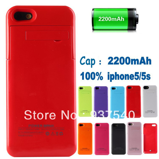Top quality !! 2200mAh Ultra Slim External Backup Rechargeale Battery Case + USB Cable for iPhone 5S 5g 5 with polybags