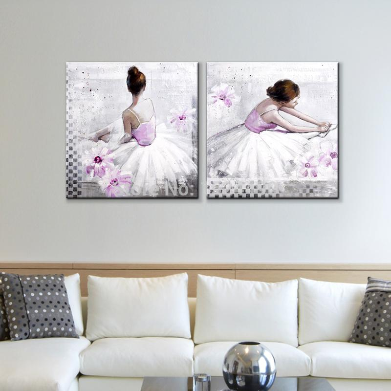 Beauty ballet dancers direct from artist 100 hand painted modern oil painting on canvas wall art for living room home decor in painting calligraphy from