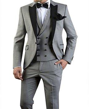 High Quality One Button Light Grey Groom Tuxedos Peak Lapel Groomsmen Mens Wedding Prom Suits (Jacket+Pants+Vest+Tie) NO:65