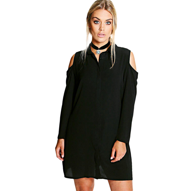 US $21.5 |Plus size black long sleeve cold shoulder longline shirt dresses  for women ladies OL oversized mini tunic button down dresses-in Dresses ...