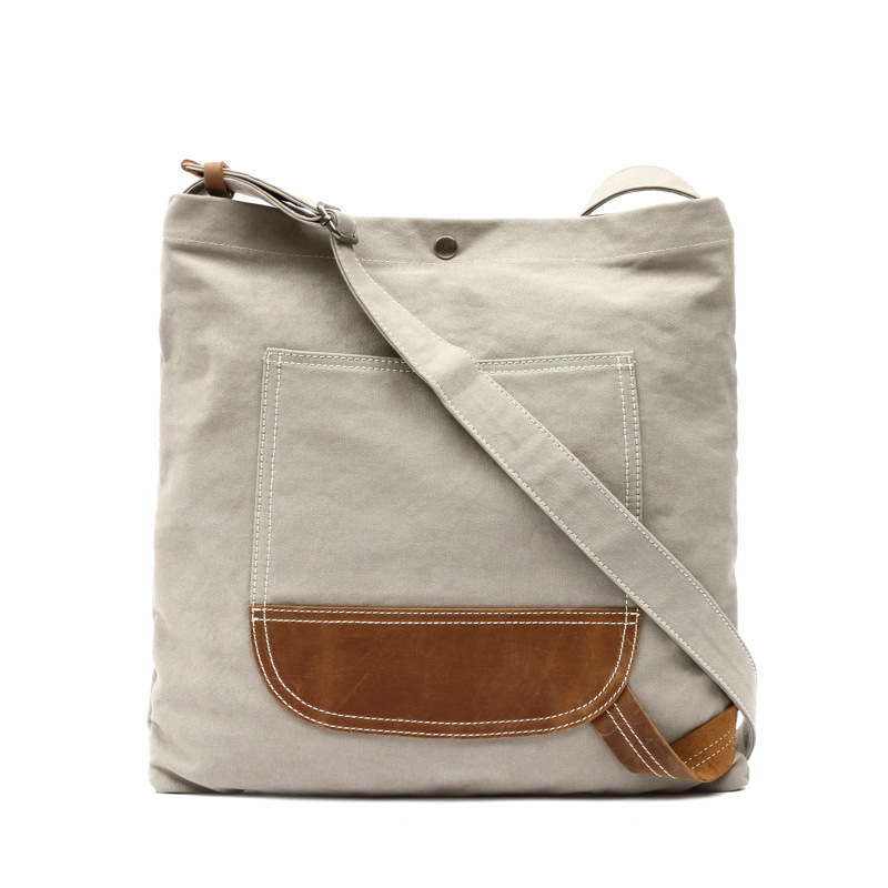 Simple Design White Canvas Crossbody Bags For Men & Women Large Capacity Shoulder Bags With Crazy Horse Leather Big Bags G062 simple women s satchel with cat print and canvas design