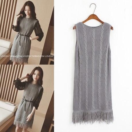 Long Sweater Vest Women Brown Gray Black Sweater Sleeveless Fringe ...
