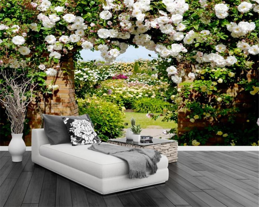 3d Wallpaper Custom Photo Non-woven Mural Wall Stickers Rose Garden Rose Hallway Flowers Background Wall 3d Wallpaper Beibehang