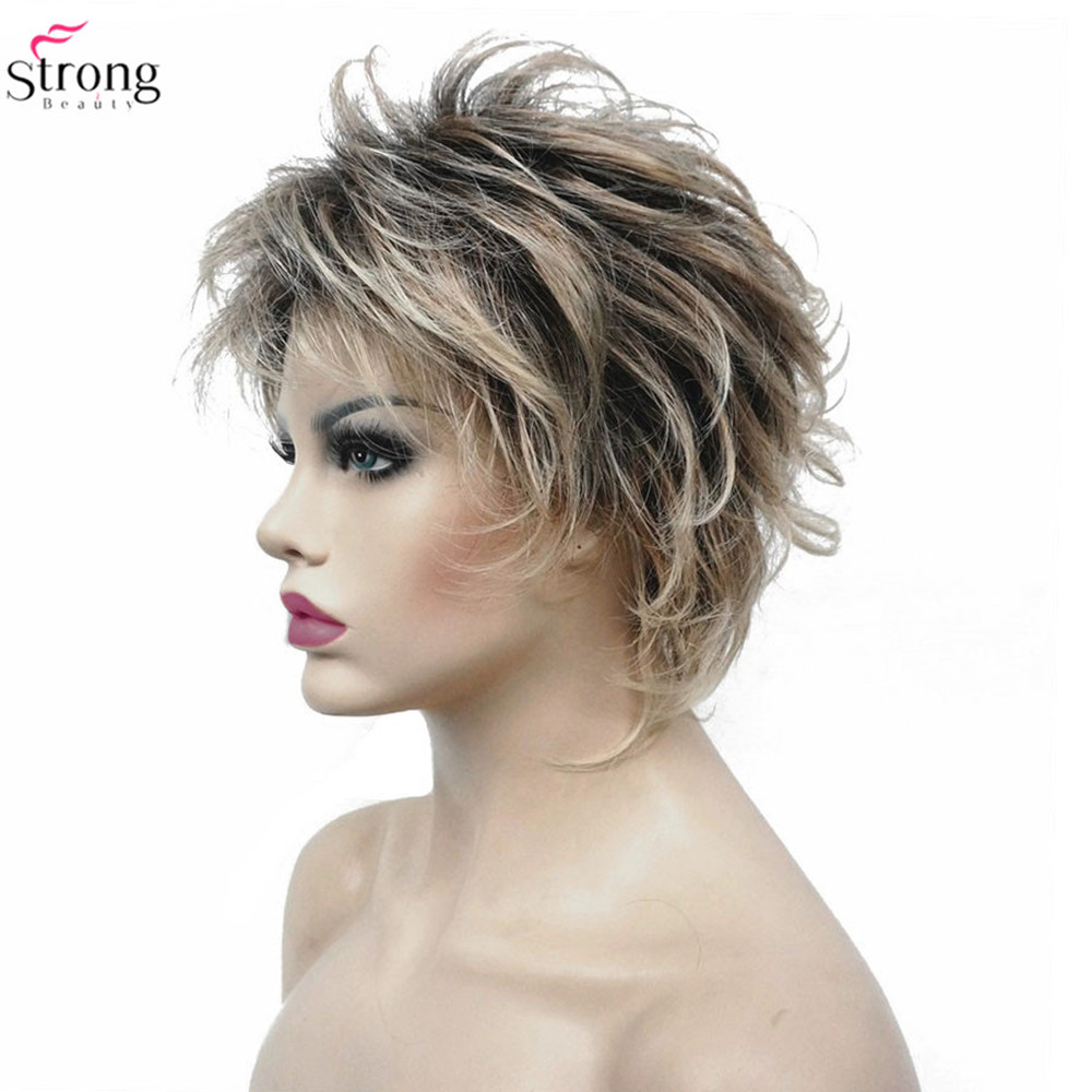 StrongBeauty Women's Synthetic Wigs Layered Short Straight Pixie Cut Bloned Mix Natura Full Wig