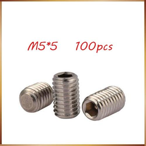 100Pcs M4 5mm 304 Stainless Steel Socket Set Screws Hexagon Headless Screws