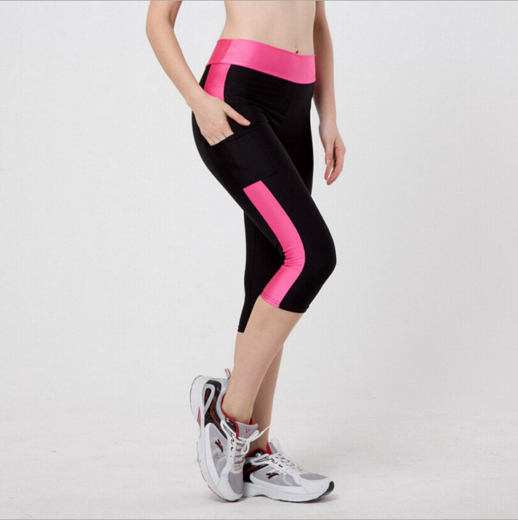 2017 Plus Size Sport Pants Women High Waist Running Workout Gym Clothes Women Fitness Legging Slim Fit  Yoga Tights 3/4 Length