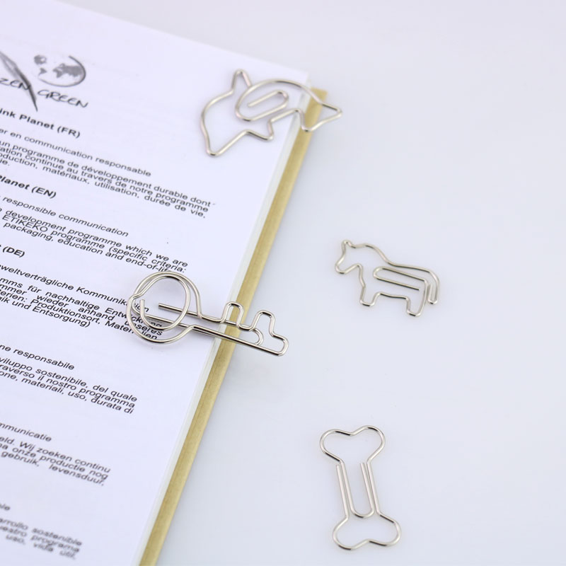 10PCS/LOT Electroplated Sliver Paper Clips Pin Metal Clip Bookmarks Storage Office Accessories Cute Bow Paper Clips H0015