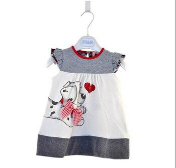 Meninas do bebê Toddlers A-Line Vestido Meninas Crianças One-pieces Vestido Vestir meninas do bebê vestido de roupas cópia do cão bonito para meninas