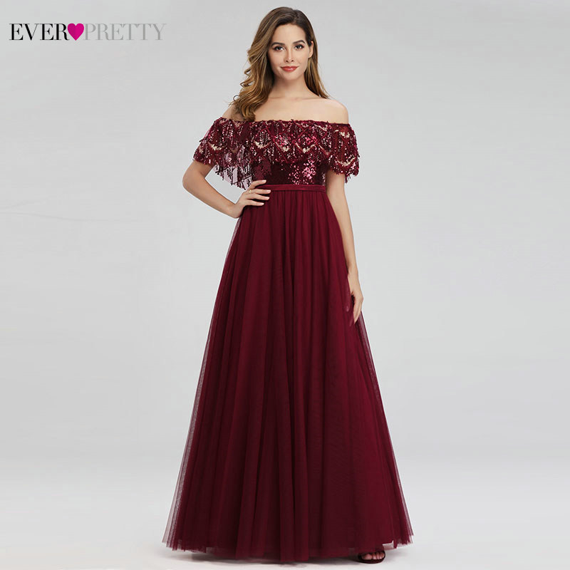 Ever Pretty Saudi Arabia Evening Dresses Off Shoulder Ruffles Tassel Sequin Gowns Formal Dresses EP00819 Robe De Soiree Femme