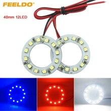 Feeldo 2 шт. 40 мм автомобиля Ангельские глазки 1210/3528 12smd светодиодные фары Halo Кольцо Ангел глаз Освещение белый красные, синие # fd-2666