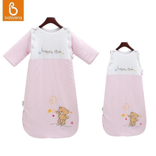 Baby Sleep Sack 100% Cotton Wearable Blanket Bear Embroidery Detachable Sleeve Sleepwear 2.5 Tog