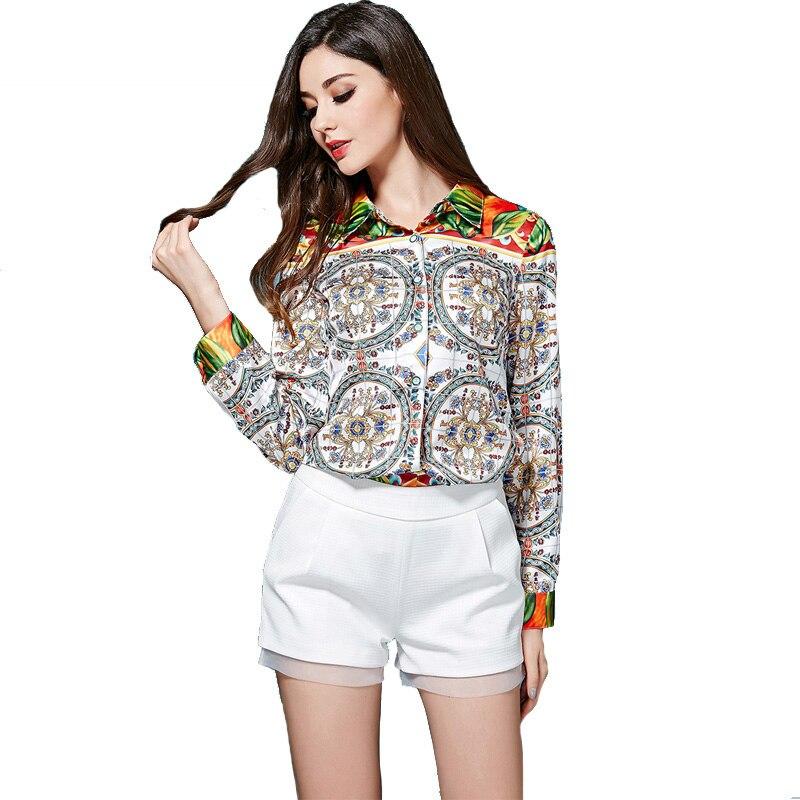 Schnell verkaufend! New European Style Fashion Damen Umlegekragen Langarm OL Retro Print Bluse