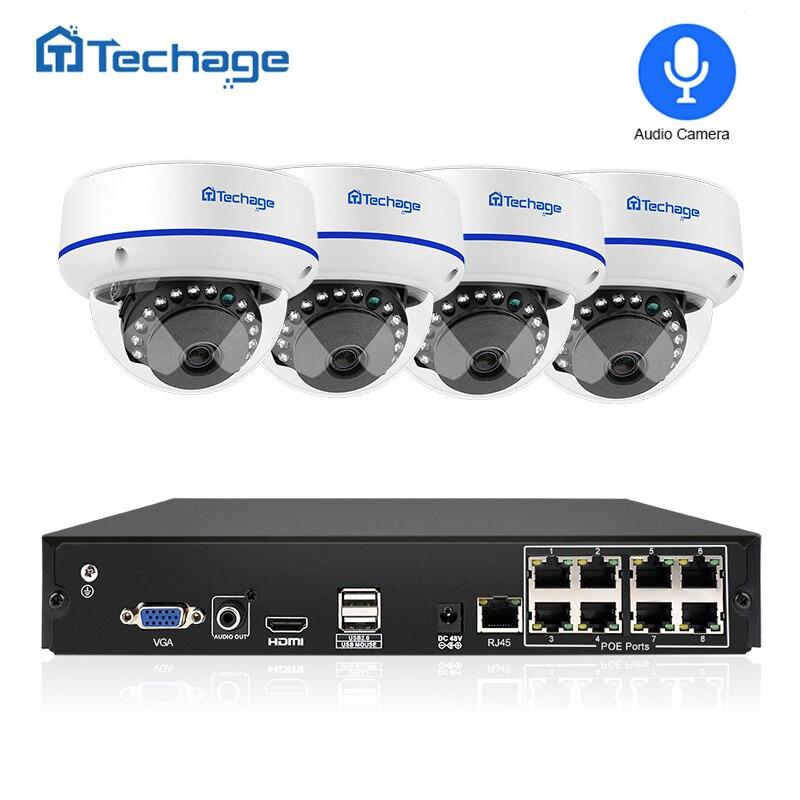 Techage 8CH видеонаблюдения системы 1080 P 2MP POE NVR комплект купольная Vandalproof аудио запись IP камера P2P товары теле и