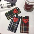 Мода Японии CDG ИГРАТЬ Comme des Garcons Любящие глаза Ткани Шотландский сетка стиль Case cover Для iPhone 7 7 Plus 6 6 S плюс