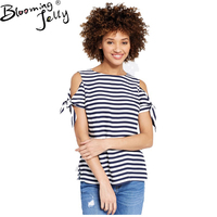 Blooming Jelly Women Cold Shoulder Striped Shirt O Neck Tie Up Short Sleeve T Shirt 2017