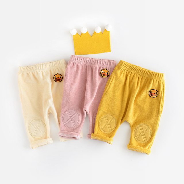 Baby Leggings  coral fleece Warm Pants for Babies Cartoon duck decoration Infant Leggings patch Baby Boy Girl Pants baby trouser