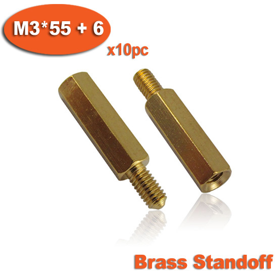 10pcs Male To Female Thread <font><b>M3</b></font> x <font><b>55mm</b></font> + 6mm Brass Hexagon Hex Standoff Spacer Pillars image