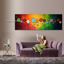 Drawing knife painting oil painting, abstract on canvas 100% handmade circle Canvas art modern for home decoration